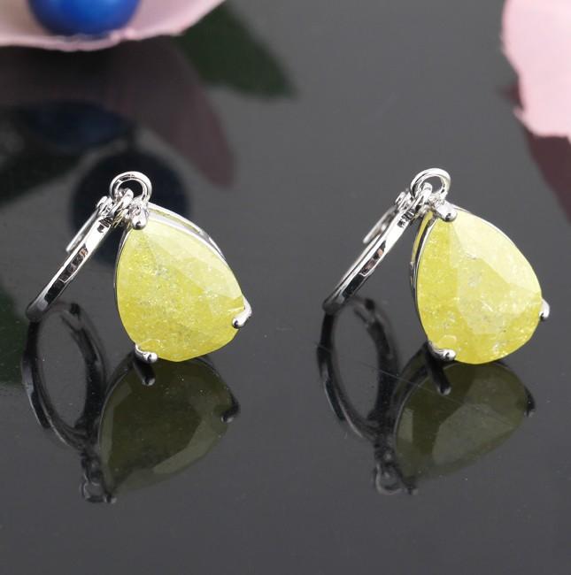 Классические серьги «Цитрин» с крупным цирконом лимонного цвета и покрытием из белого золота купить. Цена 280 грн