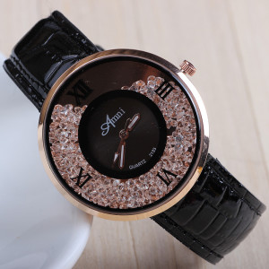 Гламурные часы для женщин с кристаллами в корпусе и чёрным ремешком купить. Цена 250 грн