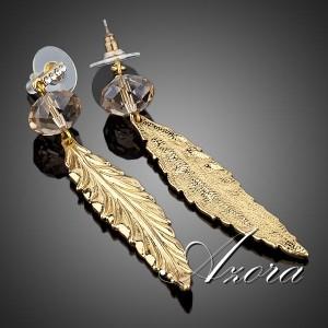 Длинные серьги-перья «Артемида» (бренд-AZORA) с горным хрусталём, стразами Сваровски и позолотой купить. Цена 240 грн