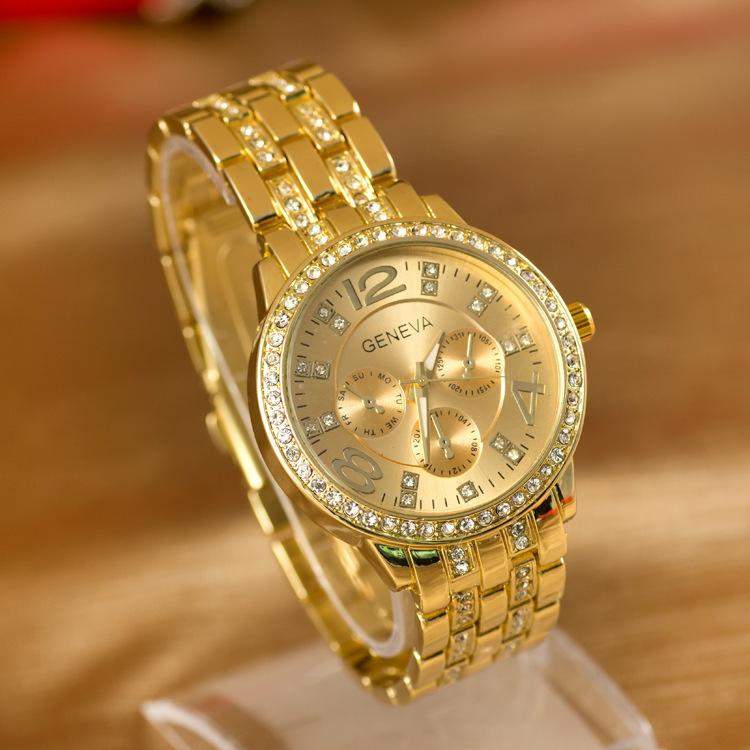 Большие женские часы «Geneva» с красивым позолоченным браслетом  со стразами купить. Цена 445 грн
