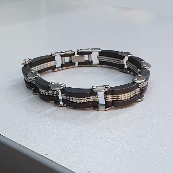 Хороший мужской браслет из нержавеющей стали с комбинированными звеньями купить. Цена 225 грн