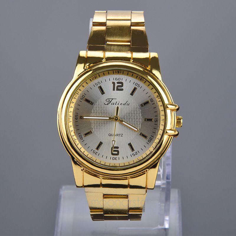 Солидные мужские часы «Faliedu» золотого цвета с металлическим браслетом купить. Цена 299 грн