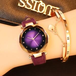Нарядные часы «GoGoey» с градиентным циферблатом и фиолетовым ремешком фото. Купить