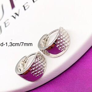 Фактурные серьги «Чешуйчатые» серебряного цвета без камней с родиевым покрытием купить. Цена 99 грн