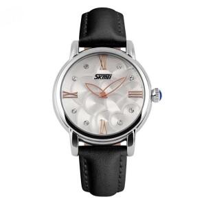 Качественные кварцевые часы «Skmei» с красивым циферблатом и чёрным ремешком фото. Купить