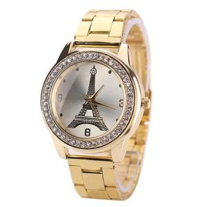 Очаровательные часы «Geneva» с Эйфелевой башней, стразами и металлическим браслетом купить. Цена 260 грн