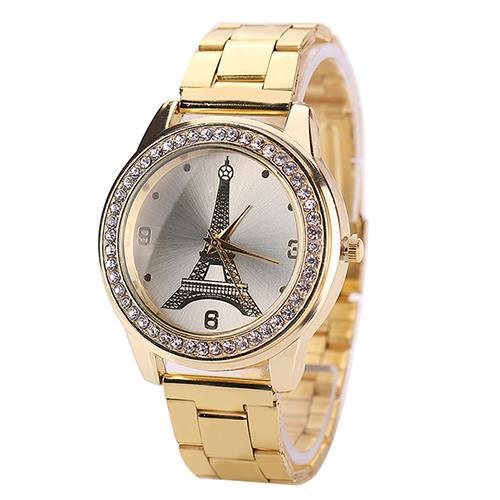 Очаровательные часы «Geneva» с Эйфелевой башней, стразами и металлическим браслетом купить. Цена 299 грн