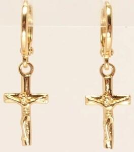 Милые серьги-крестики «Распятие Мини» с французской застёжкой и золотым покрытием купить. Цена 125 грн