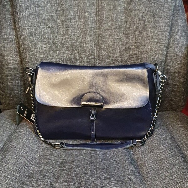 Практичная сумка «Maryam» из гладкой кожи синего цвета купить. Цена 1290 грн