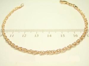 Стильный браслет-цепочка с кордовым плетением и высококачественной позолотой фото. Купить