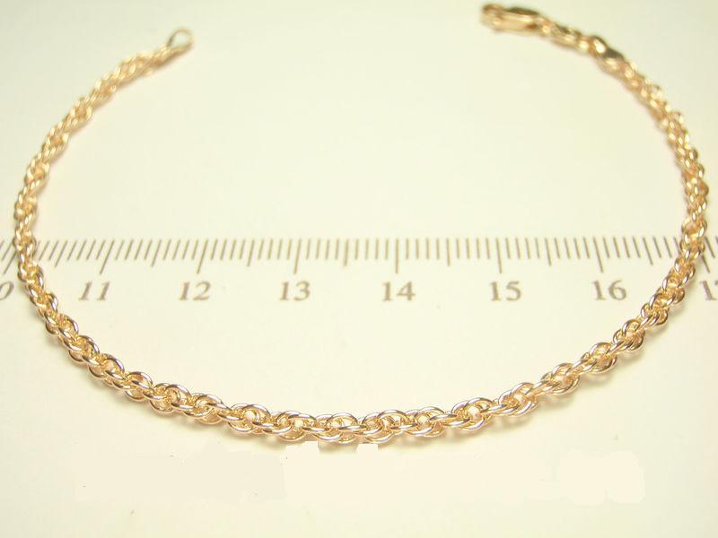 Стильный браслет-цепочка с кордовым плетением и высококачественной позолотой купить. Цена 155 грн