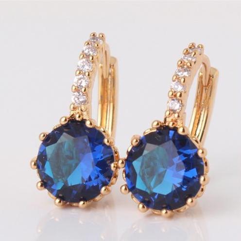 Великолепные серьги «Нефела» с золотым покрытием и круглым синим фианитом купить. Цена 185 грн