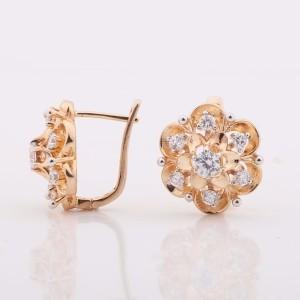 Необыкновенные серьги «Лаватера» в форме цветка с камнями и золотым напылением фото. Купить