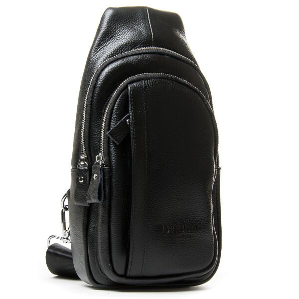 Чёрная сумка-слинг «Dr.Bond» из качественной мягкой зернистой кожи купить. Цена 1290 грн
