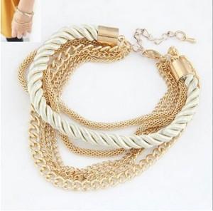 Комбинированный браслет «Бангкок» из разных цепочек и бежевой верёвки фото. Купить