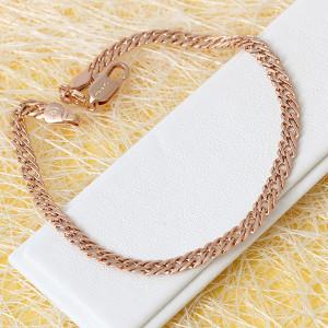 Качественный браслет-цепь с плетением двойное ромбо и розовой позолотой купить. Цена 195 грн