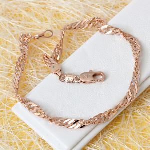 Простой браслет с плетением Сингапур и розовой позолотой купить. Цена 185 грн