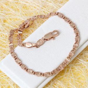 Популярный браслет красивого плетения с алмазной насечкой и розовой позолотой фото. Купить