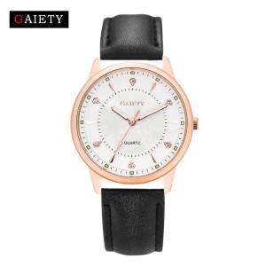 Модные женские часы «Gaiety» в позолоченном матовом корпусе с чёрным ремешком фото. Купить