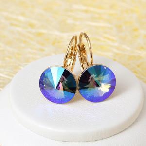 Потрясающие серьги «Радужные» с круглым кристаллом Сваровски фирменного цвета купить. Цена 315 грн