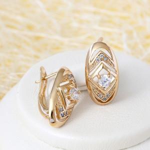 Небольшие серьги «Дарий» с круглым камнем и напылением под советское золото купить. Цена 150 грн