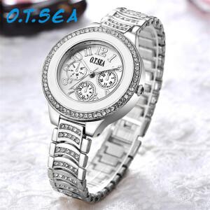 Массивные женские часы «O.T.SEA» с узким металлическим браслетом фото. Купить