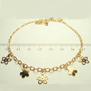Позолоченный браслет на ногу в виде цепочки с кулонами в форме цветочков купить. Цена 135 грн