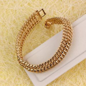 Крутой позолоченный браслет тройного панцирного плетения фирмы Xuping фото. Купить