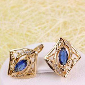 Современные серьги «Эмилия» в форме ромба с синим камнем купить. Цена 199 грн