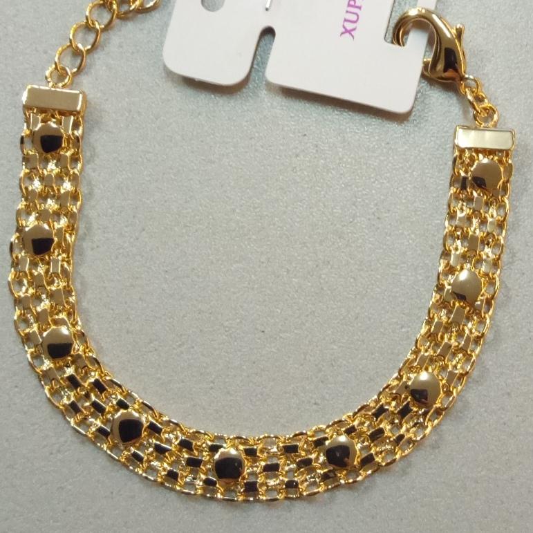 Широкий позолоченный браслет плетения двойной Бисмарк с декоративными вставками купить. Цена 399 грн
