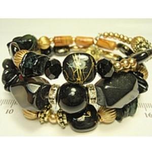 Комбинированный браслет «Гвинея» из чёрных камней разного калибра купить. Цена 155 грн