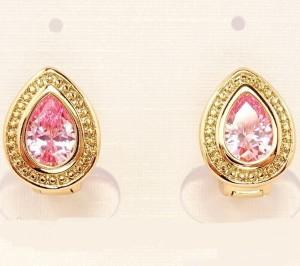 Повседневные серьги «Сладость» в виде капли с розовым фианитом и золотым покрытием фото. Купить