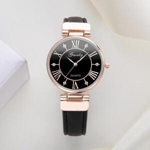 Величественные часы «Gaiety» оригинального дизайна с чёрным ремешком купить. Цена 345 грн