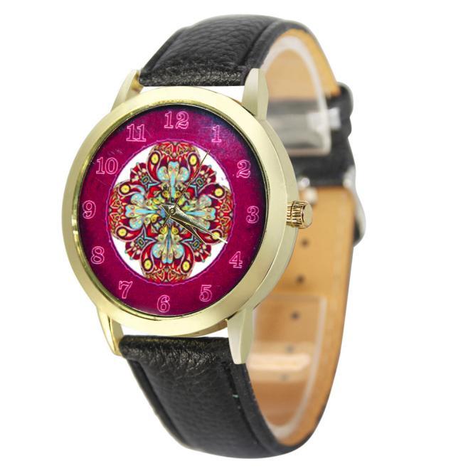 Симпатичные женские часы «Quartz» с ярким циферблатом и чёрным ремешком купить. Цена 235 грн