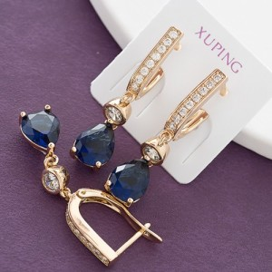 Очаровательные серьги «Инсигния» с синим фианитом и качественной позолотой фото. Купить