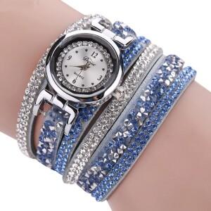 Нежного цвета часы «Duoya» с ярким длинным ремешком в стразах купить. Цена 245 грн