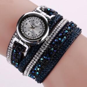 Очень красивые часы «Duoya» с длинным многорядным ремешком в стразах фото. Купить