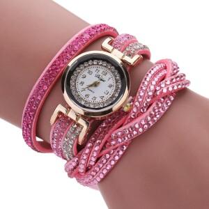 Розовые часы «Duoya» с длинным ремешком со стразами фото. Купить