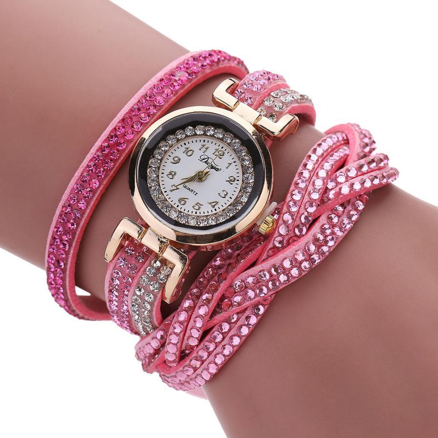 Розовые часы «Duoya» с длинным ремешком со стразами купить. Цена 275 грн