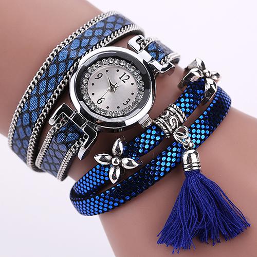 Восхитительные часы «Duoya» с длинным красивым ремешком синего цвета купить. Цена 299 грн