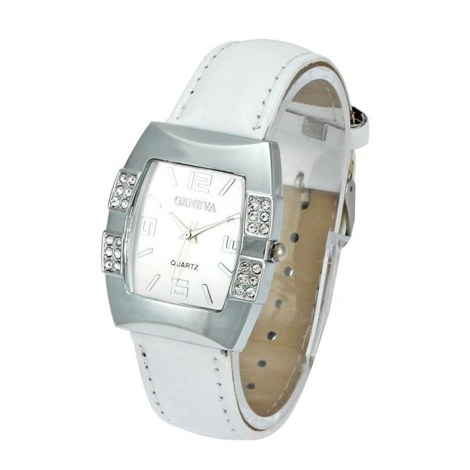 Необычной формы часы «Geneva» серебряного цвета со стразами купить. Цена 255 грн