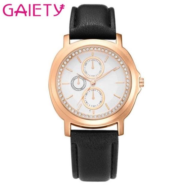 Красивые часы «Gaiety» в корпусе золотого цвета и чёрным ремешком купить. Цена 299 грн