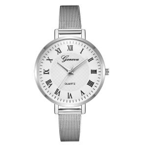 Серебряного цвета часы «Geneva» с классическим дизайном и римскими цифрами купить. Цена 265 грн