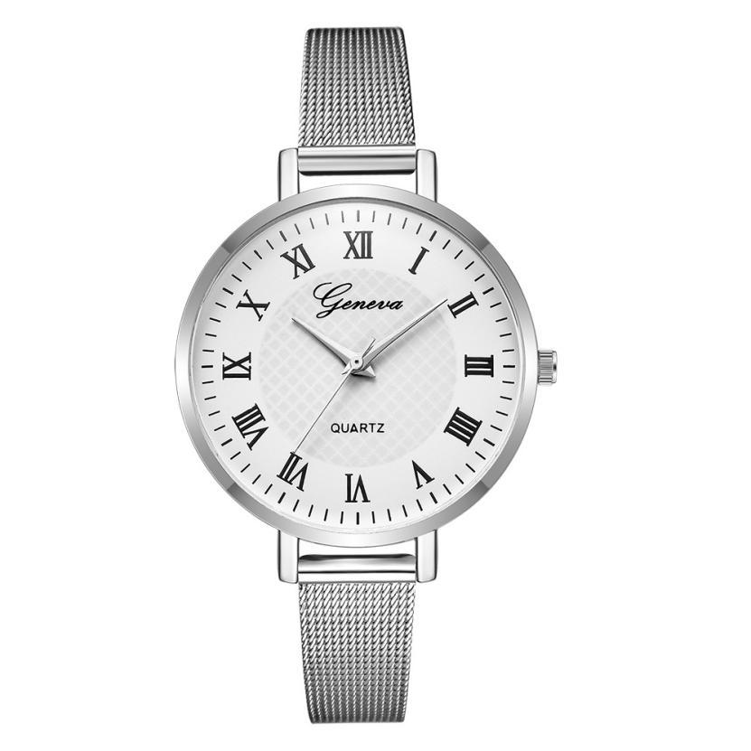 Серебряного цвета часы «Geneva» с классическим дизайном и римскими цифрами купить. Цена 295 грн