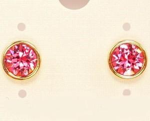 Розовые серьги-гвоздики с круглым фианитом и золотым покрытием фото. Купить