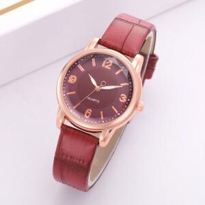Красные женские часы «Quartz» с объёмным гранённым стеклом купить. Цена 235 грн