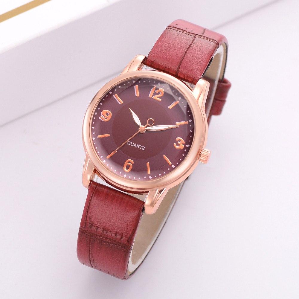 Красные женские часы «Quartz» с объёмным гранённым стеклом купить. Цена 285 грн