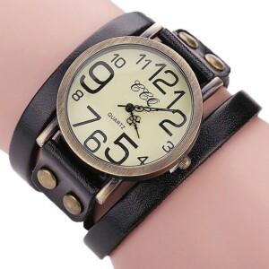 Винтажного стиля часы «CCQ» с длинным чёрным ремешком из кожи купить. Цена 255 грн