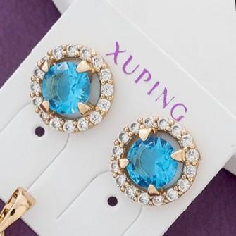Повседневные серьги-гвоздики «Созвездие» с голубым цирконом в позолоченной оправе купить. Цена 145 грн
