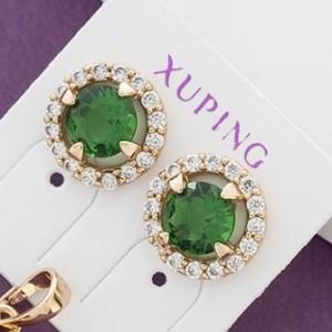 Круглые серьги-гвоздики «Созвездие» с зелёным камнем в позолоченной оправе купить. Цена 145 грн